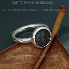 925k Sterling Silver Coin Ring Ancient Art Hand Hammered  Design By Omer