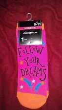 WOMAN'S PINK FOLLOW YOUR DREAMS ANKLE SOCKS SIZE 9-11