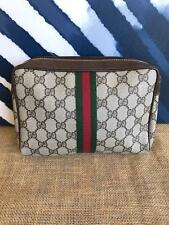 GUCCI GG Web Canvas Leather Clutch Cosmetic Pouch Metal Zipper Closure Bag SALE