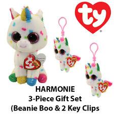 """3-Piece TY """"Harmonie"""" the Unicorn Gift Set (Boo & 2 Key Clips)"""