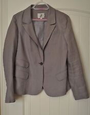 Ann Taylor LOFT Khaki Gray Linen Lined Rolled Cuffs Blazer Jacket Career Size 6