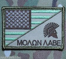 Molon Labe Usa American Flag Us Army Morale Badge Tactical Multicam Hook Patch