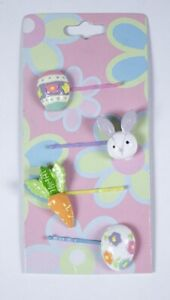 EASTER BUNNY RABBIT EGGS CARROT SET OF 4 BOBBY PINS HAIR ACCESSORIES SPRING NEW