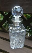 More details for broadway & co silver collar & crystal hallmarked silver crystal spirit decanter