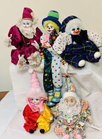 Lot of 5 Vintage Porcelain Dolls Clown Jester