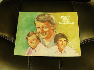 1976 1977 UTAH STATE COLLEGE BASKETBALL MEDIA GUIDE EX-MINT