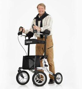 """OasisSpace 12"""" Pneumatic Wheels Upright Walker, All Terrain Walker with Seat"""