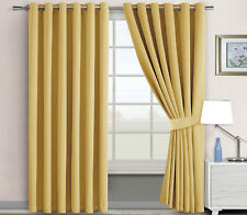 Blackout Eyelet Window Curtains Room Darkening Insulating 2 Panels & 2 Tiebacks