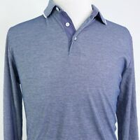 UNTUCKit LONG SLEEVE BLUE COTTON POLYESTER BLEND POLO SHIRT MENS SIZE L LARGE