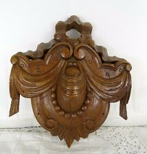 Antique French Carved Wood Pediment Crest Medallion Solid Oak
