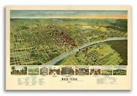 Bird's Eye View 1892 Waco Texas Vintage Style City Map - 24x36