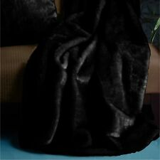 Soft Mink Lounge Sofa bed Runner Throw Rug Blanket Black - 130 x 160 cm