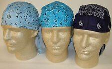 Lot Set 3 Paisley Doo Rags Headwrap Sky Navy Turquoise Durags Biker Pirate Cap