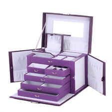 Purple Large Jewellery Box Gift Jewelry Ring Storage Display Boxes Lockable Case