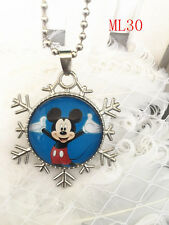 Disney mickey mouse princess round glass Pendant silver Chain necklace ML 30 .
