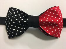 Custom Mens  Black/Red Polka Dot Bow Tie Pre-tied Adjustable Handmade bowtie