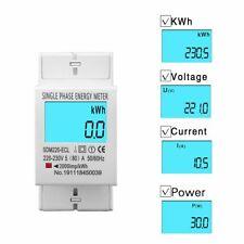 Medidor de pantalla digital de fase única eléctrico consumo de energía kWh AC 220v 230v