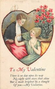 H66/ Valentine's Day Love Holiday Postcard c1910 Glitter Heart Man Woman16