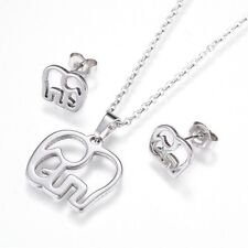 2pce Stainless Steel Lucky Elephant Necklace & Matching Stud Earring Set