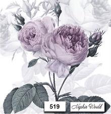 (519) TWO Individual Paper LUNCHEON Decoupage Napkins  PURPLE ROSE SAGEN VINTAGE