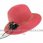 H16 estupendo Sombrero De Paja Gorro verano Flores 56-58 NUEVO