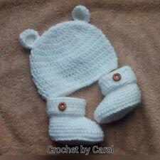 Handmade Crochet Bébé Fille Garçon Bonnet chaussons et moufles nouveau-né à 12 M
