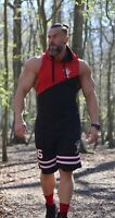 Mens Muscle Hoodie Top Bodybuilding Sleeveless Gym Tank Top Hooded Vest T Shirt