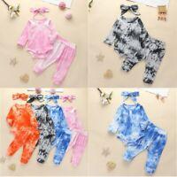 Baby Boys Girls Romper Tops Jumpsuit Long Pants Set Newborn Outfits 3PCS Clothes