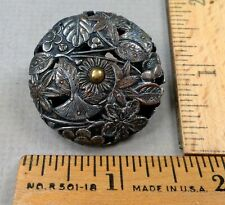 METAL Open-Work, Antique CRICKET CAGE BUTTON, 1800s, Floral Pattern, LARGE
