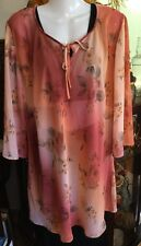 All Occasion Event Floral Sheer Ombré Peach 3/4 Sleeve Long Shirt blouse Free Sz