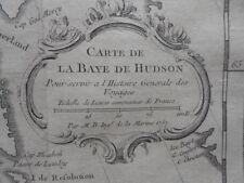 Map, Nicolas Bellin, Hudson Bay Canada, c.1752,  Antique Original *