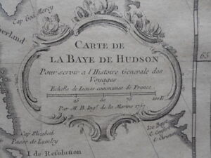 Map, Nicolas Bellin, Hudson Bay Canada, c.1752,  Antique Original >
