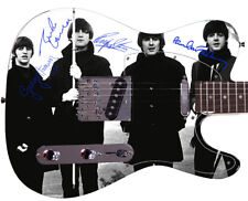 THE BEATLES Autographed Photo Guitar