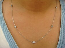 """1 CARAT T.W. """"DIAMONDS BY THE YARD"""" 5 STATIONS NECKLACE FLAT OPEN BEZELS,18 INCH"""