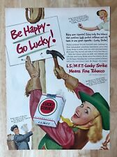 Original Print Ad 1950 LUCKY STRIKE Be Happy Go Lucky! Cowgirl