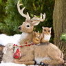 Holiday Deer Figurine Sculpture Christmas Outdoor Garden Yard Decoration Winter
