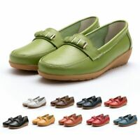 Womens Ladies Pump Loafers Casual Shoes Walking Real Leather Comfy Slip On Flats