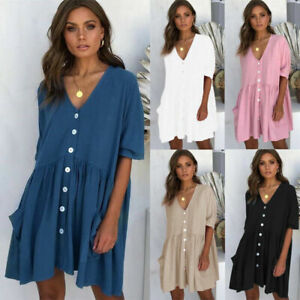 Women's Ladies Beach Holiday Dress Sundress Loose Short Tops Summer Smock Casual