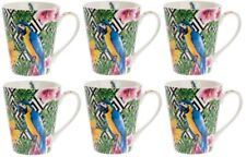 Leonardo Colección Conjunto de 6 Porcelana Fina Grande Tazas Fauna Macaw Loro