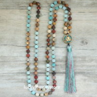 8mm Matte Natural Stone 108 Beads For Women Long Mala Necklace Jewelry Z0143