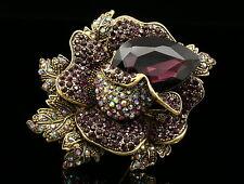 fashion amethyst purple crystal wedding scarf dress Brooch pin royal rose D37