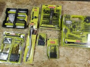 Lot of Ryobi drill bits, nut driver sets, wood drilling set & more