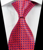 Hot Fashion Plaid Check Red Blue JACQUARD WOVEN 100% Silk Men's Tie Necktie