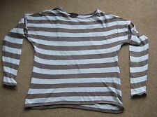 Ladies Long Sleeve Brown & White Striped Jumper Plus Size 20 GOOD CONDITION