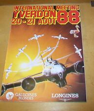 YVERDON FRANCE INTERNATIONAL MEETING 20-21 AOUT 1988 AIR SHOW PROGRAMME