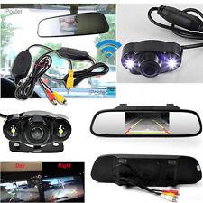 "4.3"" TFT LCD Monitor Mirror Wireless Car Reverse Back Up Camera Kit Night Vision"