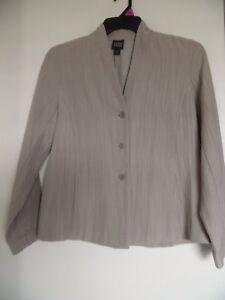 Eileen Fisher Beige Open Blazer Jacket Silk Cotton Light Weight Sz S