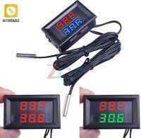 Digital Thermometer W/ Dual NTC Mini Dual Display Waterproof Metal Probe For Car