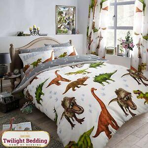 KIDS DINOSAUR DUVET COVER SET Children Animal Bedding Single Double Quilt Covers