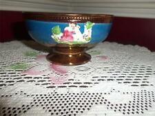 antique copper luster bowl pedestal blue band lady 5.5 in. small C. 1820-1840